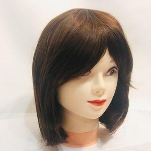 "NWT 12"" Chestnut Brown Wig Synthetic Bob w/Bangs"